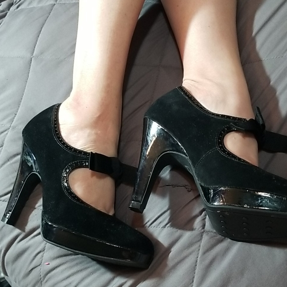 Black Suede Heels with Bows